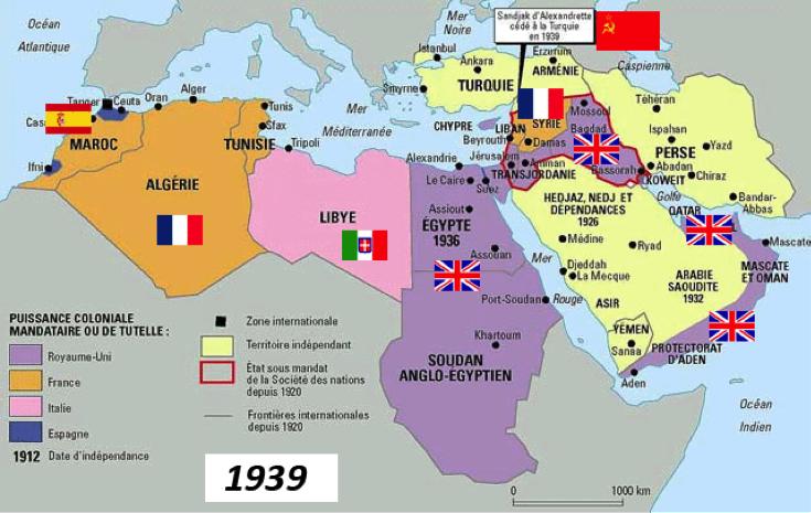 Τα σύνορα στη Β. Αφρική και Μ. Ανατολή μετά την κατάρρευση της Οθωμανικής Αυτοκρατορίας