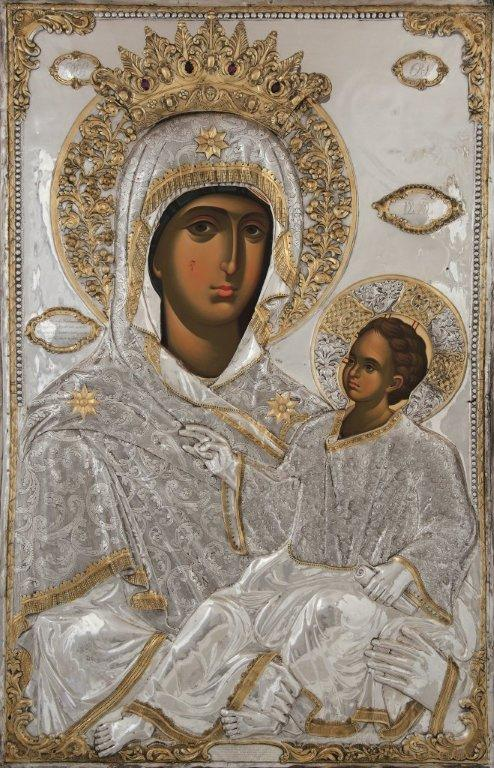 Η θαυματουργή αυτή εικόνα είναι τοιχογραφία του 14ου αιώνα και βρίσκεται στον νάρθηκα του παρεκκλησίου του Αγίου Δημητρίου, το οποίο είναι ενσωματωμένο εις το Καθολικόν της Ιεράς Μεγίστης Μονής Βατοπαιδίου.