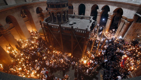 Orthodox Holy Fire ceremony in Chrch of the Holy Sepulchre in Jerusalem