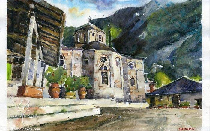 Έργα ζωγραφικής από Μονές και τοπία του Αγίου Όρους δια χειρός Χρήστου Μπαλούκου